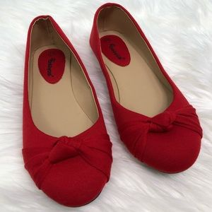 Ositos Red Knot Front Ballet Flats 8 1/2 NEW